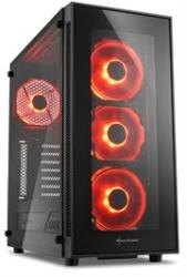 Sharkoon TG5 Window Atx Tower PC Gaming Case Red With Side Window