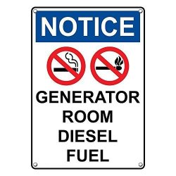 SignJoker Weatherproof Plastic Vertical Osha Notice Generator Room Diesel  Fuel Sign With English Text And Symbol | R710 00 | DIY Hardware |  PriceCheck