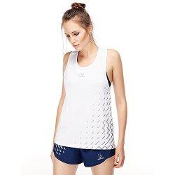 Vansydical Women's Running Vest Yoga Sleeveless Top Training Fitness 2017 Summer Tanks Small White