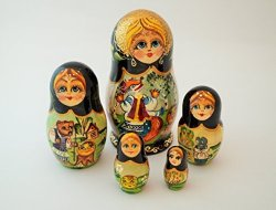 "Made In Russia 5 Pcs Russian Matryoshka Nesting Doll ""kolobok"" 6"" Tall"