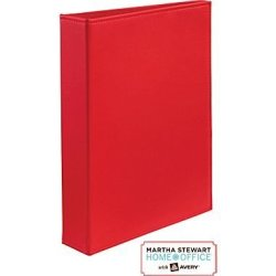 """Martha Stewart Home Office With Avery Smooth Finish Small Format Binder 1"""" Gap Free Ring - Martha Stewart Home Office Red"""