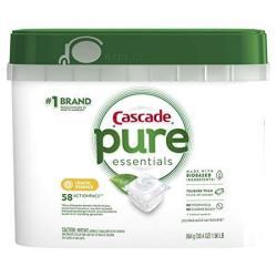 Cascade Pure Essentials Actionpacs Dishwasher Detergent Lemon Essence 58 Count