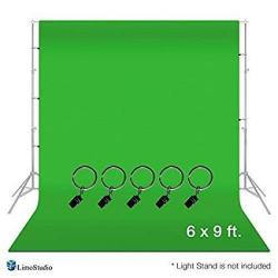 LimoStudio AGG1338 Photo Video Studio 6 X 9 Feet Green Muslin Backdrop Muslin With Backdrop Ring Holder Clip Backdrop Stands Not