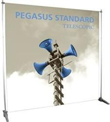 USA Exhibitor's Handbook PGSUS2-S Pegasus Standard Telescopic Banner Stand Frame Silver