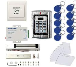 SecureControl Metal Weatherproof Access Control System Only For 125KHZ Hid Card 600LBS Force Electric Magnetic Lock +110VPOWER Supply+exit Button+cards+key Fobs
