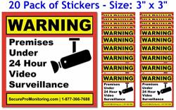 Security Products Co. 20 Real Warning Premises Under 24 Hour Video Surveillance Security Decals Door Window Stickers