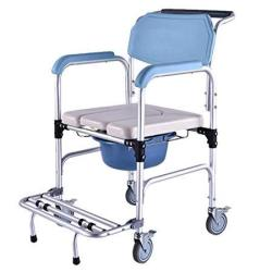 Homcom Personal Mobility Durable Waterproof Shower Accessible Transport Commode Medical Rolling Chair