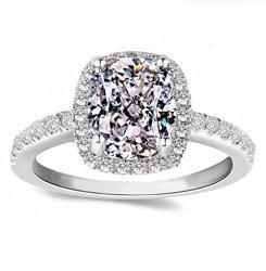 0f5ef85f3e3ed Diamonbella.com Diamonbella Supreme 101 Facets 2 Carat Rectangular Cushion  Cut Nscd Simulated Diamond Ring Solid 925 Silver Halo | R1925.00 | Fancy ...