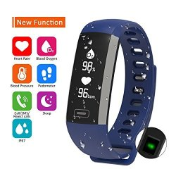 Parnerme Waterproof Fitness Tracker Wrist Based Heart Rate Tracker Blood Oxygen Tracking Pedometer Calorie Sleep Monitor For Android And Ios Blue