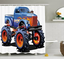 Ambesonne Man Cave Decor Shower Curtain By Cartoon Monster Truck Huge Tyres Off Road Heavy Large Tractor Wheels Turbo Fabric Bat