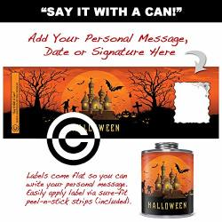 Greeting Card Can Label: Halloween. Premium Decorative Label For Holiday Gift Cans. Includes Area For Personalized Message.