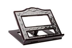 Wood And Silver Plated Book Holder Shtender