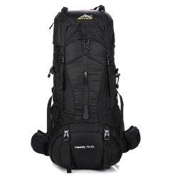 75L Mountain Hiking Camping Backpack Bag & Rain Cover - Black