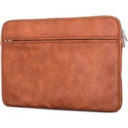 "Caseza Boston Macbook 12"" & Macbook Air 11.6 Pu Leather Laptop Sleeve Brown - Premium Vegan Leather Macbook Case - Notebook Bag Fits Surface Pro 3 & 4"