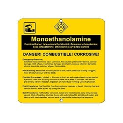 Monoethano?lamine 2-AMINOETH?ANOL Beta-amino?ethyl Alcohol Label Vinyl Decal Sticker Kit Osha Safety Label Compliance Signs 8