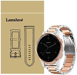 For Garmin Vivoactive 4S Band Blueshaw Quick Release Stainless Steel Metal Replacement Straps Vivoactive 4S 40MM Smartwatch Metal-silver&rose Gold