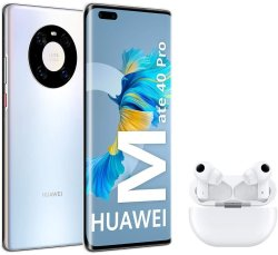 """Huawei Mate 40 Pro Black + Freebuds Pro White - Smartphone With 6.76 """"curved Screen 8 Gb + 256 Gb Silver"""