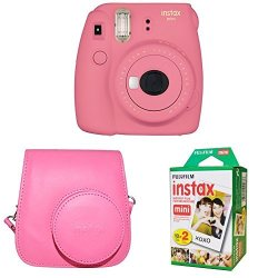 Fujifilm Instax MINI 9 Instant Camera With Instax Groovy Camera Case Flamingo Pink & Instax MINI Instant Film Twin Pack