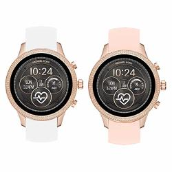 Compatible For Michael Kors Runway Band Blueshaw Sport Silicone Replacement Strap For Michael Kors Access Runway Smartwatch 2 Pack-w+p