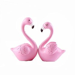 TATEELY 2 Pcs Flamingo Micro Landscape Resin Crafts Small Ornaments Cake Diy Home Garden Figurines Miniatures Accessories