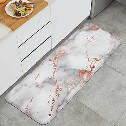 Long 4718 Kitchen Mat Rose Gold Marble Microfiber Rubber Backing Non-slip Water-absorbent Anti-fatigue Stylish Foam Kitchen Rugs