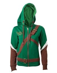 Zelda The Legend Of Hoodie Link Cosplay Design Official Womens Green Zipped