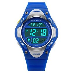 DFQ Watches Kids Outdoors Waterproof Wristwatch Multifunctional LED Digital Watch For Boys Girls Blue
