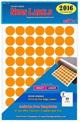 "Garage Sale Pup Pack Of 2016 1"" Round Color Coding Circle Dot Labels Neon Orange 8 1 2"" X 11"" Sheet Fits Any Printer"