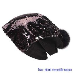 Double Sparkly Sided Sequin Beanie Slouchy For Winter Cozy And Oversized With Fur Pom Pom In Red Black
