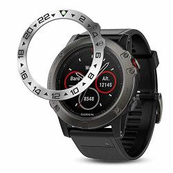 Baihui Stainless Steel Bezel Ring Compatiable With Garmin Fenix 5X Watch Bezel Ring Adhesive Cover Anti Scratch & Collision Prot