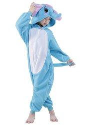NEWCOSPLAY Childrens Panda Elephant Sleeping Wear Animal Onesies Cosplay Homewear 95 Blue Elephant