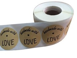 "Wootile 2"" Inch Round Handmade With Love Natural Kraft Stickers With Black Font 500 Total Adhesive Labels"