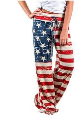 Gloous Women American Flag Drawstring Wide Leg Pants Leggings S