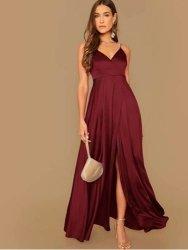 Wrap Surplice Solid Satin Formal Dress