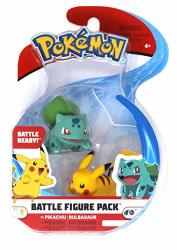 Wicked Cool Toys Pok Mon 2 Inch Battle Action Figure 2 Pack Pikachu And Bulbasaur