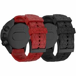 Ancool Compatible With Suunto 9 Baro suunto Spartan Band Soft Silicone Strap Replacement Wristbands For Suunto Gps Smart Watch Black red