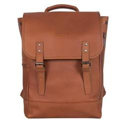 Kenneth Cole Reaction Colombian Leather Single Compartment Flapover 14.1 Laptop Backpack Rfid Cognac