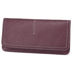 ECOSUSI Thin Wallet Long Bifold Leather Purse Minimalist Clutch Card Holder For Women And Men Brown