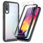 Leyi Samsung Galaxy A50 Case Galaxy A50 Case With Tempered Glass Screen Protector 2 Pack Full-body Protective Hybrid Rugged Armo