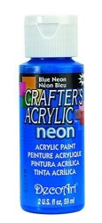 DecoArt Crafter's Acrylic All Purpose Paint 2 Ounces-blue Neon