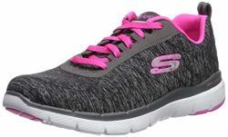 Skechers Women's Flex Appeal 3.0 Sneaker Black Hot Pink 9 M Us
