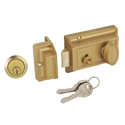Stainless Steel Fuhsing Americas Inc. Faultless D567 Night Latch Spin-To-Lock Deadbolt
