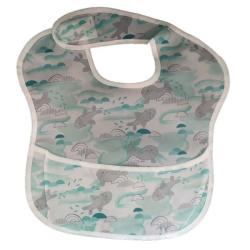 4AKID Waterproof Baby Bib With Crumb Catcher - Mint Seals