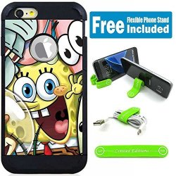 """Limited Editions Apple Iphone 7 Plus 8 Plus 5.5"""" Hybrid Case Cover With Flexible Phone Stand - Sponge Bob Friends"""