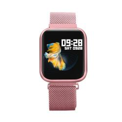 P80 1.3 Inch Ips Color Screen Smartwatch IP68 Waterproof Metal Watchband Support Call Reminder heart Rate Monitoring blood Pressure Monitoring sleep Monitoring sedentary Reminder Pink