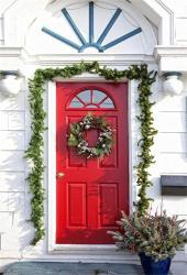 Aofoto 6X8FT Holiday Decorated Front Entrance To Home Photography Background Christmas Wreath Hang On Red Door Backdrop Xmas New Year Artistic Portrai
