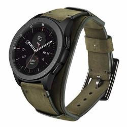 Leotop Compatible With Samsung Galaxy Watch 42MM ACTIVE 40MM ACTIVE 2 40MM 44MM GEAR S2 Classic Bands 20MM Replacement Genuine Leather Cuff Strap With Stainless Steel Metal
