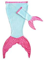 PoshPeanut Mermaid Blanket Softest Minky Comfy Cozy Blankie For Kids Ages 3-13 With Free Toy Doll Blanket Included Aqua Pink