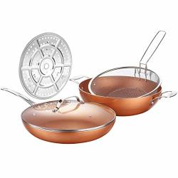 Americook 12-INCH Copper Nonstick Deep Pan Chip Fryer Pan With Stainless Steel Basket Steamer Rack And Glass Lid Induction Deep Fat Fryer For Oven