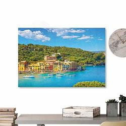 """Artwork Office Home Decoration Italy Portofino Landmark Aerial Panoramic View Village And Yacht Little Bay Harbor Blue Green Yellow 20""""X16"""" For Boys Room Baby"""